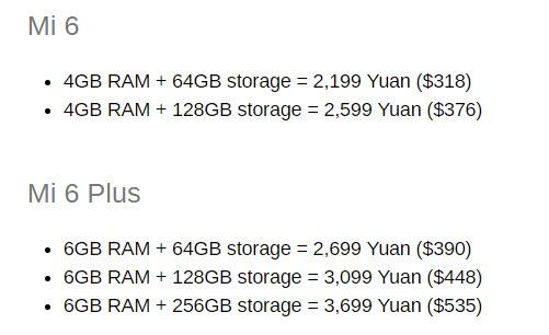 Опубликованы цены смартфонов Xiaomi Mi6 и Mi6 Plus
