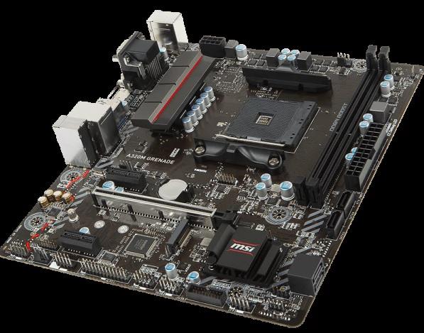 В основе платы MSI A320M Grenade лежит бюджетный чипсет AMD