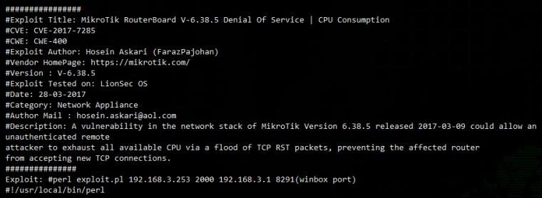 DoS-атака на линейку оборудования MikroTik и виртуальные RouterOS - 1