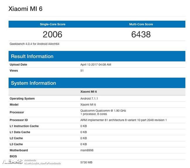 Смартфон Xiaomi Mi6 в тесте GeekBench опередил Samsung Galaxy S8