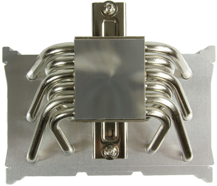Конструкция Scythe Mugen 5 Rev. B включает шесть никелированных медных тепловых трубок