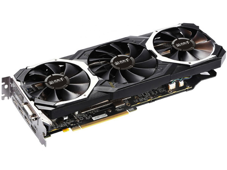 Память 3D-карты Yeston Radeon RX 580 GameAce работает на эффективной частоте 8 ГГц