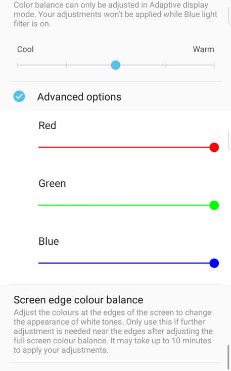 Обновление добавляет в настройки экрана возможность коррекции уровня основных цветов
