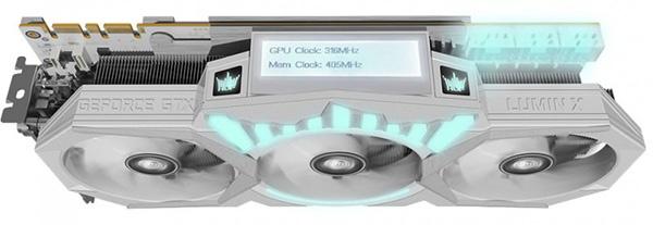 3D-карта KFA2 GeForce GTX 1080 Ti HOF 8 Pack Edition: трехслотовый кулер, встроенный дисплей и очень высокие частоты - 5