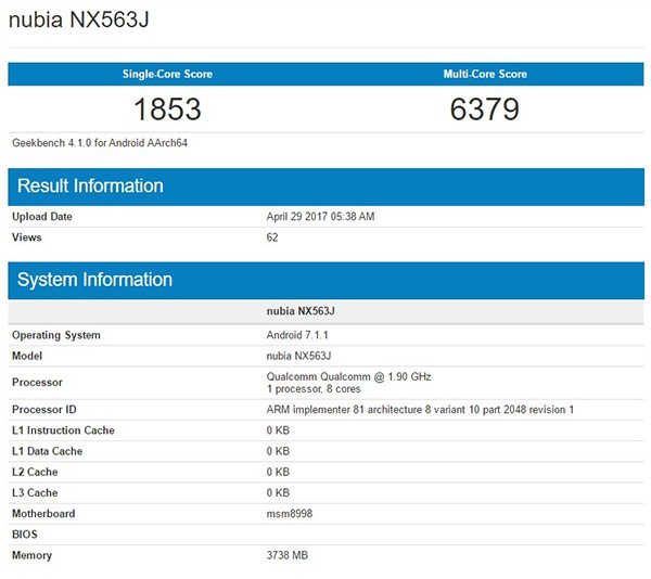 Смартфон ZTE Nubia NX569J засветился в бенчмарке Geekbench