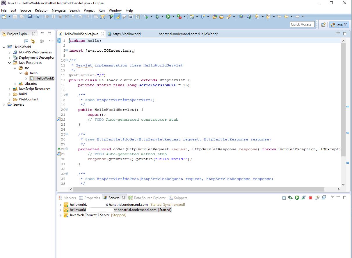 Как запускать на SAP Cloud Platform сервлеты из Eclipse - 15