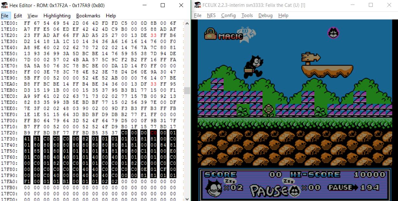 Использование инструментов исследования NES-игр на примере разбора формата компрессии игры Felix The Cat - 4