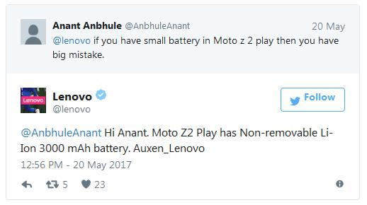 Литий-ионный аккумулятор Moto Z2 Play будет несменным