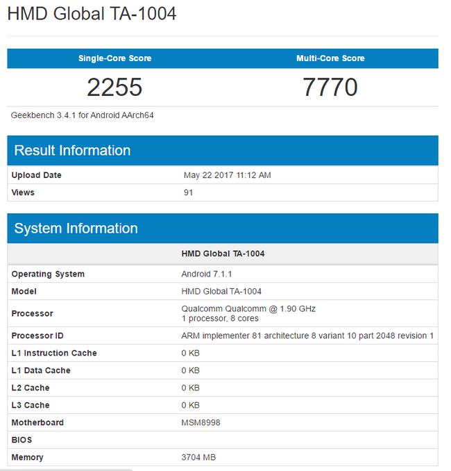 Смартфон Nokia 9 установил в Geekbench новый рекорд, набрав 7770 баллов