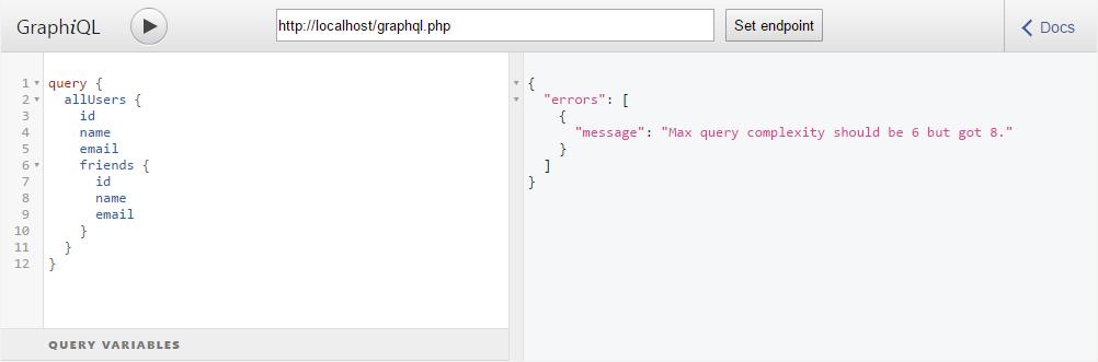 Ошибка в GraphQL запросе: Превышение максимальной сложности запроса