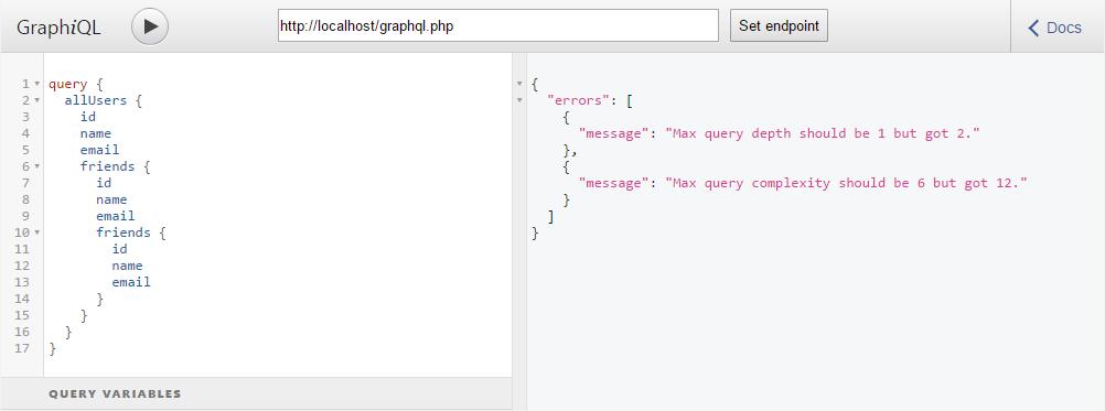 Ошибка в GraphQL запросе: Превышение максимальной сложности и глубины запроса