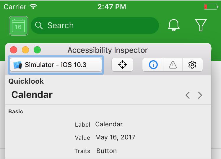 Инспектирование accessibility свойств кнопки календарь через Acessibility Inspector