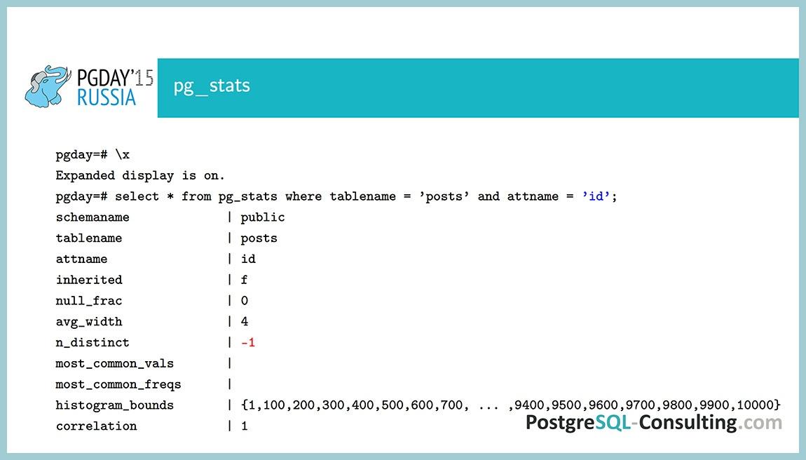Использование статистики в PostgreSQL для оптимизации производительности — Алексей Ермаков - 13