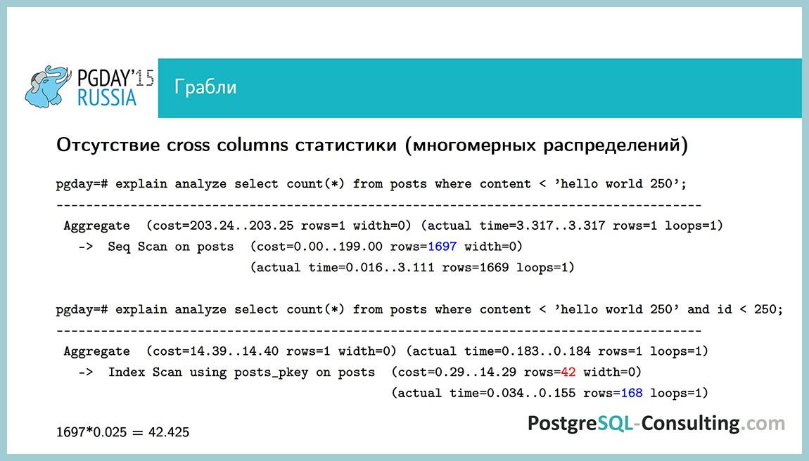 Использование статистики в PostgreSQL для оптимизации производительности — Алексей Ермаков - 37