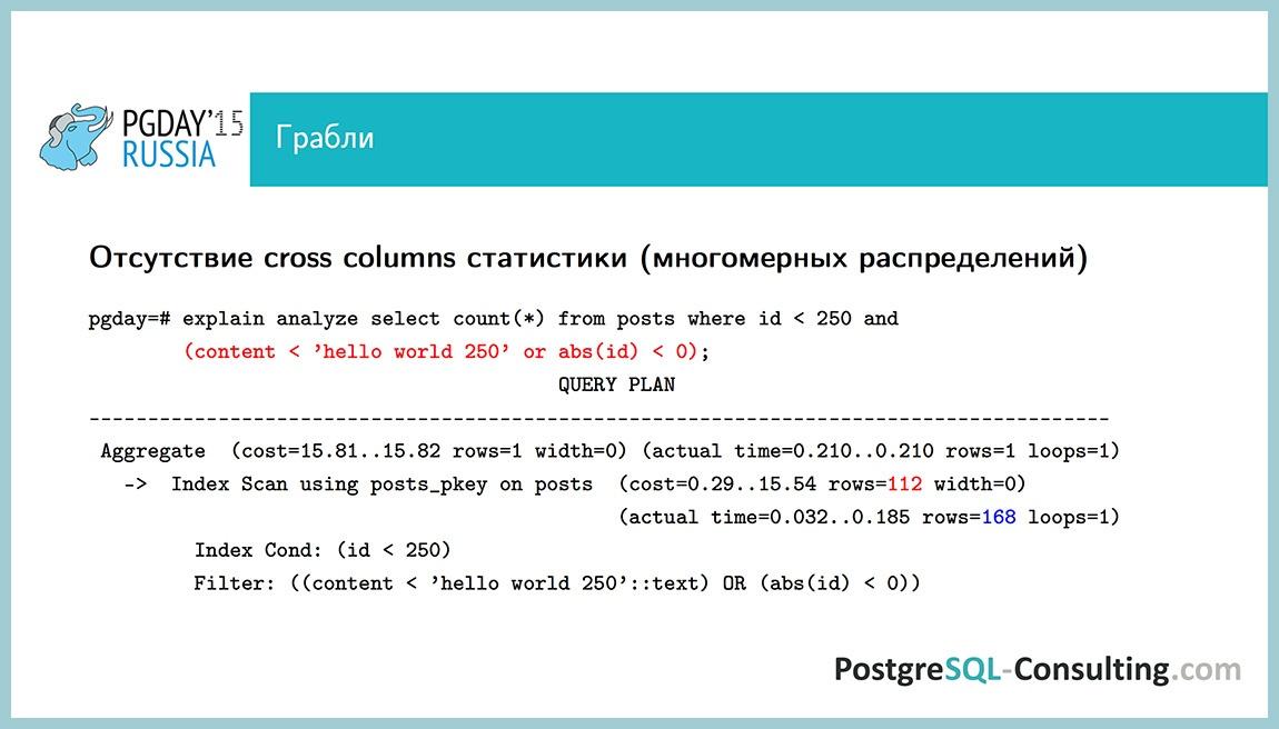 Использование статистики в PostgreSQL для оптимизации производительности — Алексей Ермаков - 38