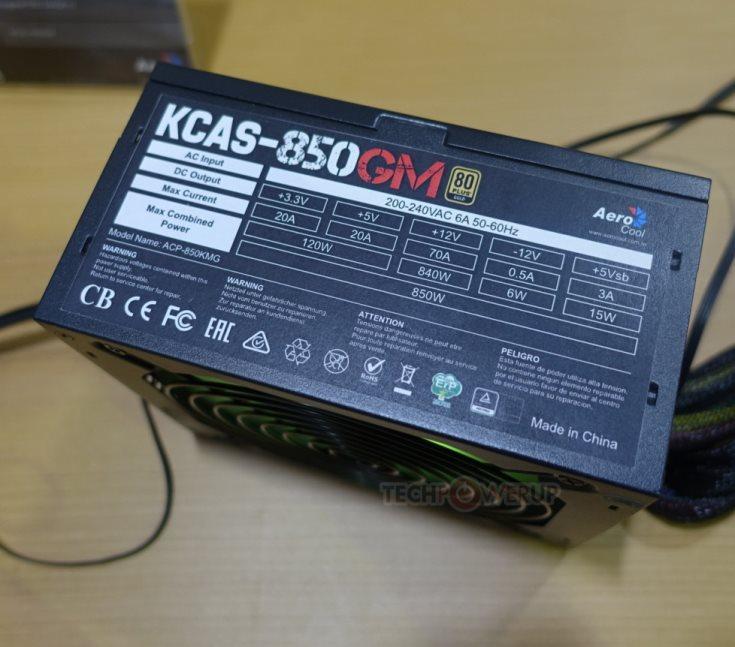 В блоках питания Aerocool KCAS-G и KCAS-GM используется схема с одной линией +12 В