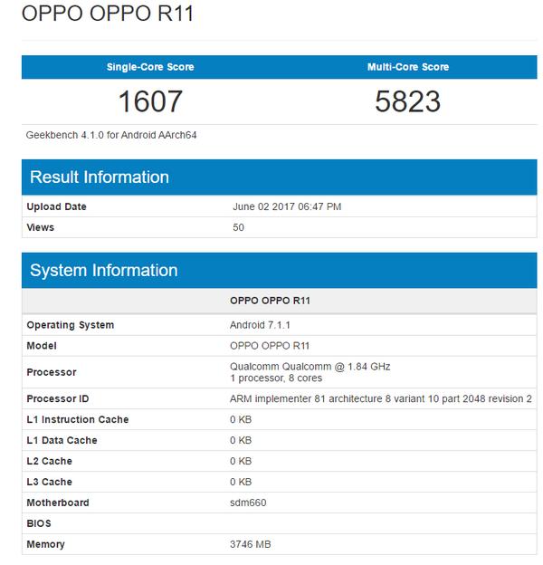 SoC Snapdragon 660 в составе смартфона Oppo R11 демонстрирует высокий уровень производительности в GeekBench