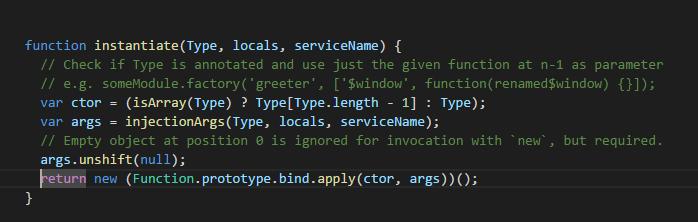 Универсальная функция создания объектов на примере реализации $injector.instantiate в angularjs - 1