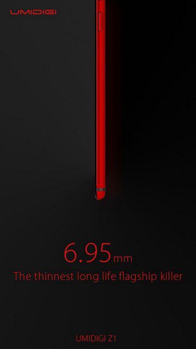 Толщина корпуса смартфона Umidigi Z1, который оснащен емким аккумулятором, составляет всего 6,95 мм