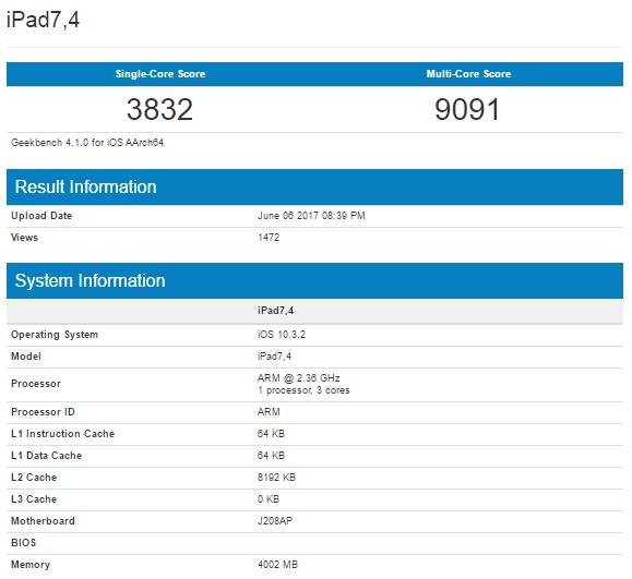 Новый iPad набрал Geekbench более 9000 баллов
