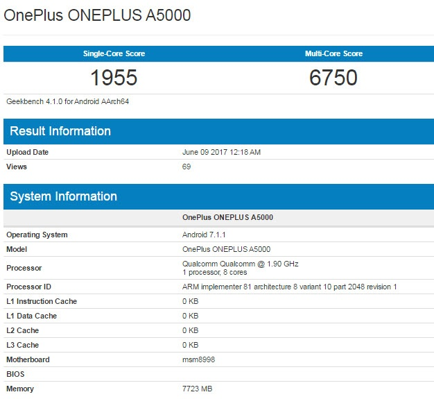 Смартфон OnePlus 5 с 8 ГБ ОЗУ протестирован в Geekbench