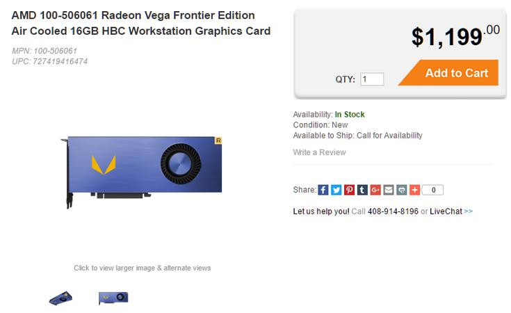 Видеокарты Radeon Vega Frontier Edition уже можно заказать
