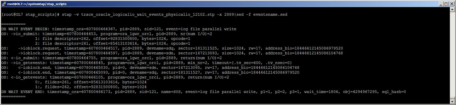 Жизнь Oracle I-O: трассировка логического и физического ввода-вывода с помощью SystemTap - 10