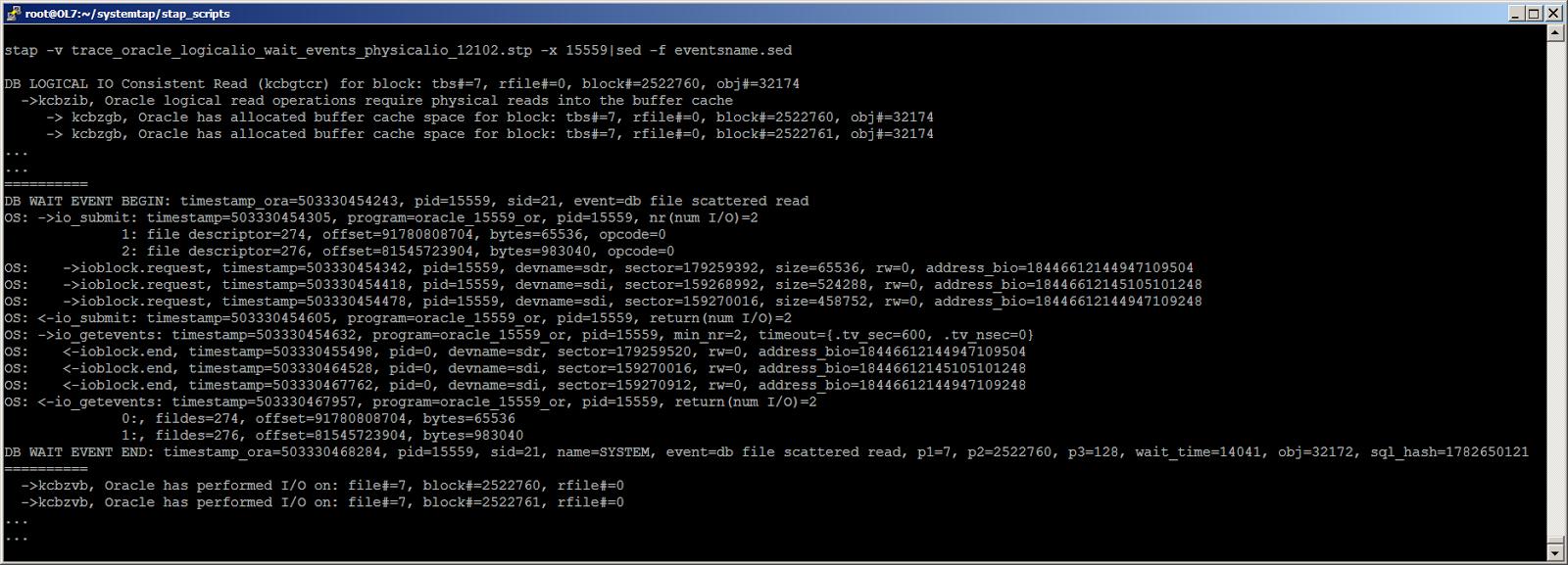 Жизнь Oracle I-O: трассировка логического и физического ввода-вывода с помощью SystemTap - 4