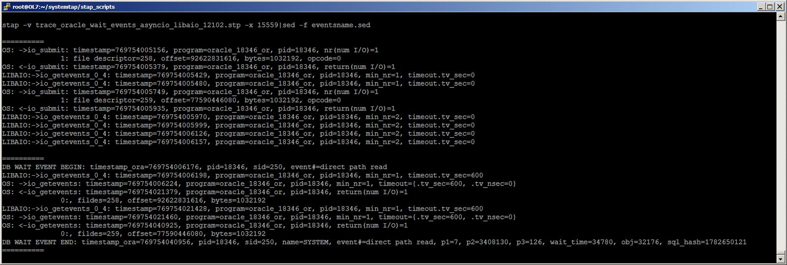 Жизнь Oracle I-O: трассировка логического и физического ввода-вывода с помощью SystemTap - 5