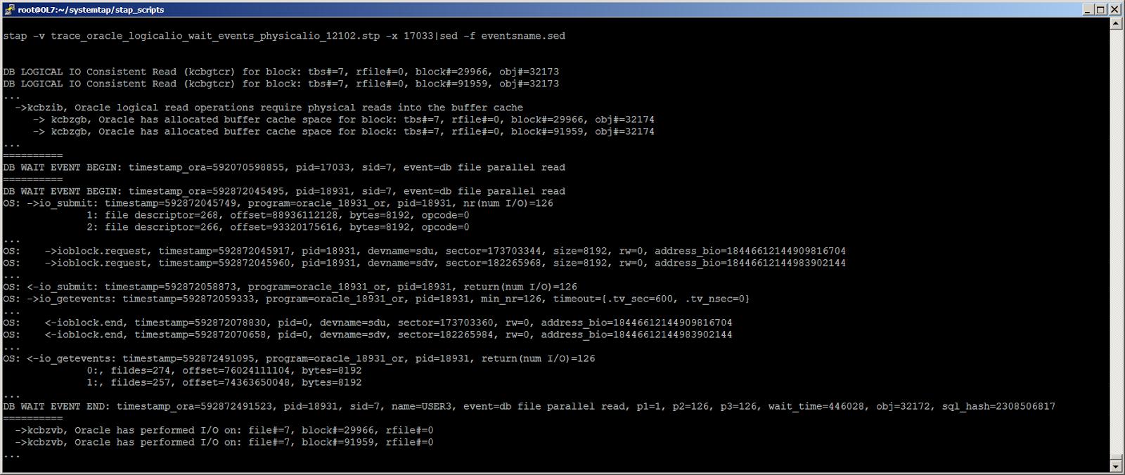 Жизнь Oracle I-O: трассировка логического и физического ввода-вывода с помощью SystemTap - 8