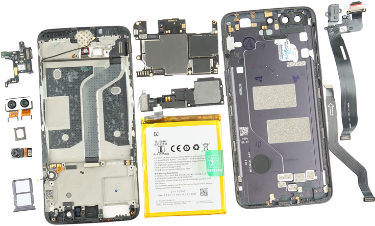 Разборка смартфона OnePlus 5 показала сходство с аппаратами Apple и Samsung