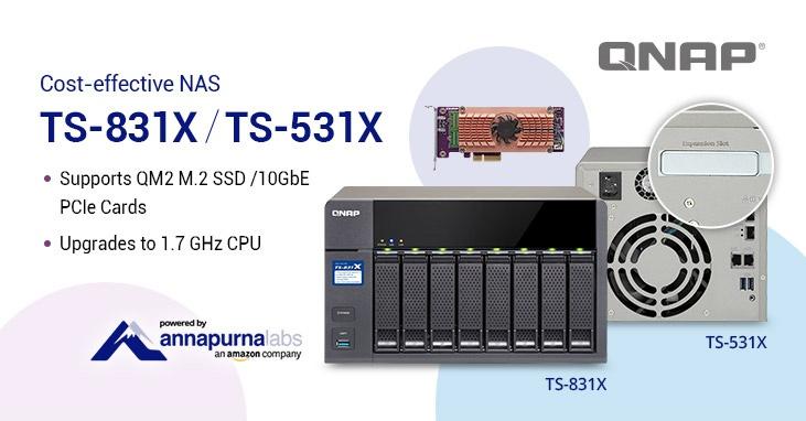 Хранилища TS-831X и TS-531X теперь поставляются с модернизированными однокристальными системами Alpine AL-314