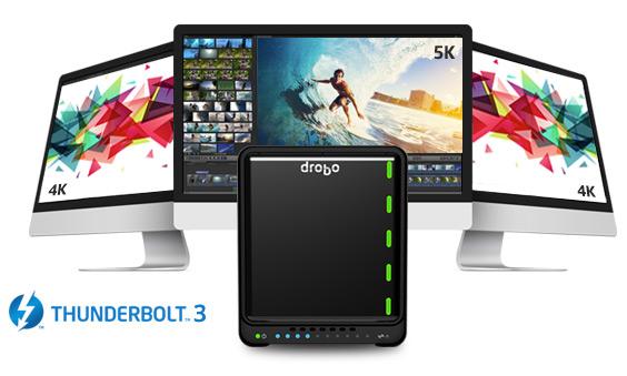К хранилищу Drobo 5D3 можно подключать мониторы 4К и 5К