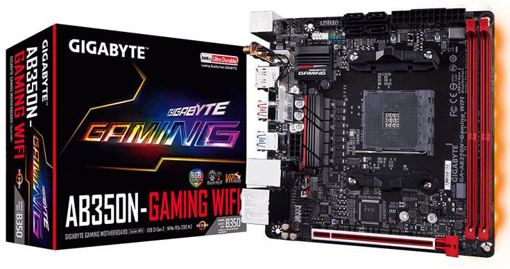 Системная плата Gigabyte AB350N-Gaming WiFi  типоразмера mini-ITX рассчитана на процессоры AMD в исполнении AM4