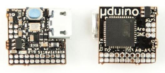 Плата µduino представляет из себя квадрат габаритами 12х12 мм