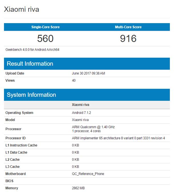 Бюджетный смартфон Xiaomi Riva работает под управлением Android 7.1.2