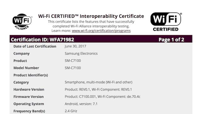Технические характеристики Samsung Galaxy C7 (2017) пока неизвестны