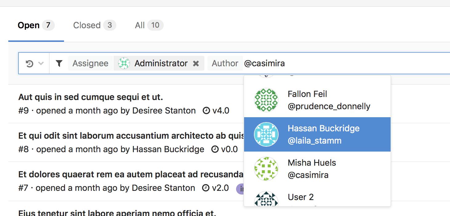 Search/Filter Bar Improvements