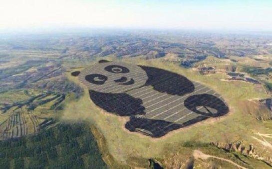 В Китае построили солнечную электростанцию в виде большой панды