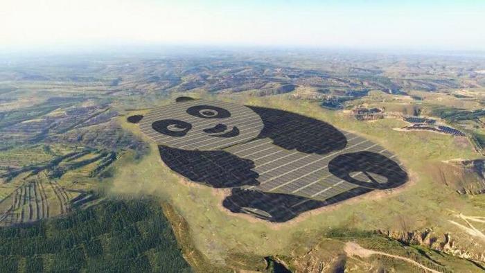 В Китае начала работать солнечная электростанция, построенная в форме панды