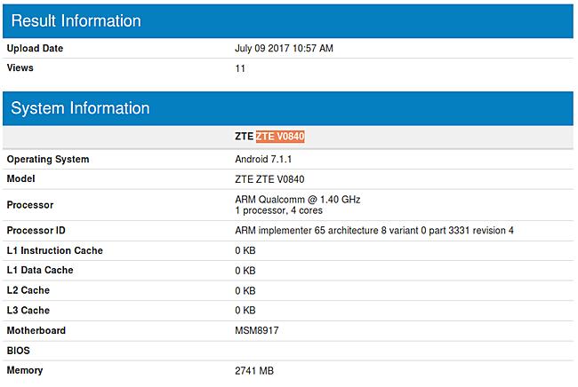 Смартфон ZTE V0840 работает под управлением ОС Android 7.1.1