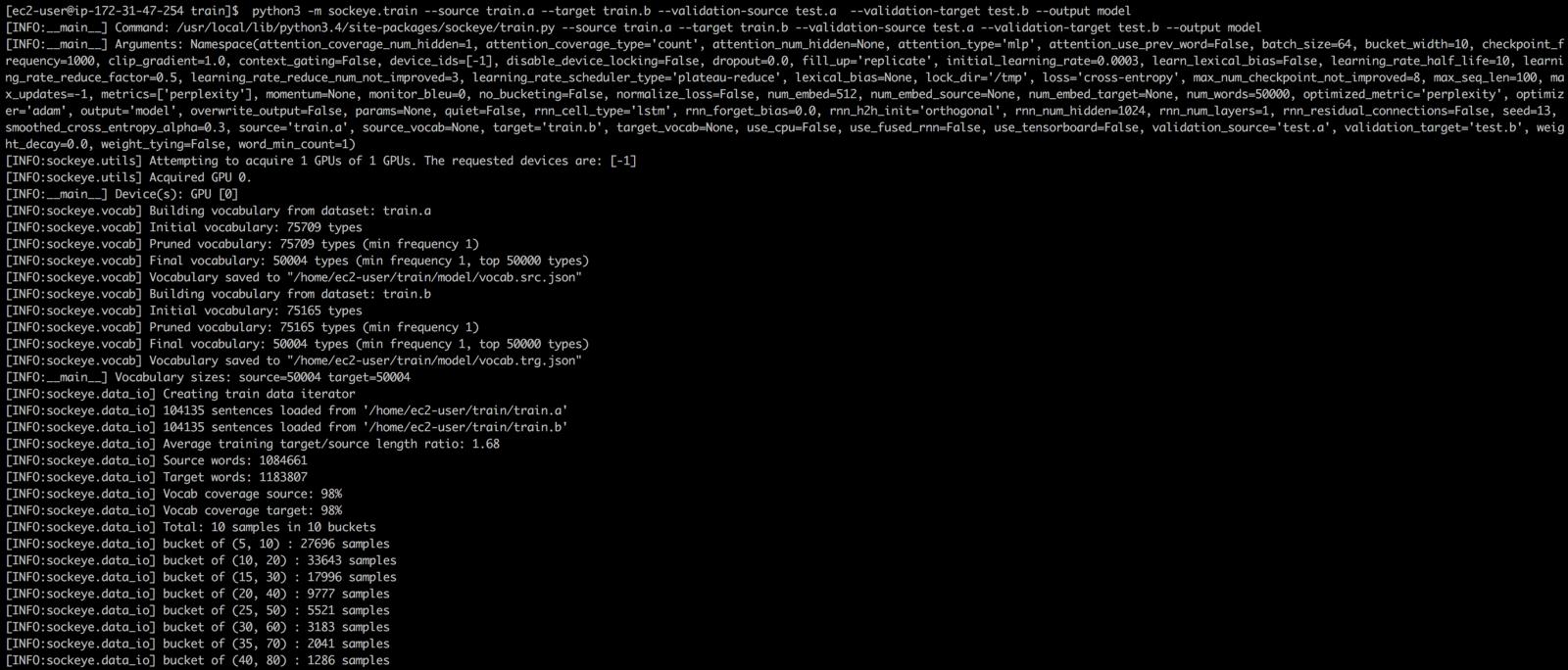 Создание chatbot-a с помощью sockeye (MXNet) на базе AWS EC2 и AWS DeepLearning AMI - 11