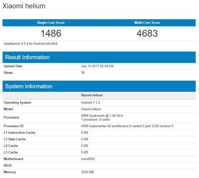 В Geekbench протестирован смартфон Xiaomi Helium