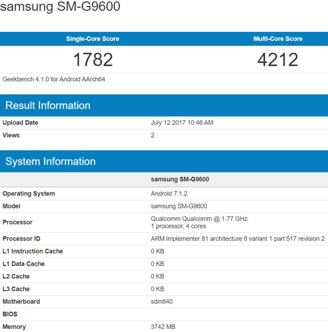 Смартфон Samsung SM-G9600, оснащенный SoC Snapdragon 840, может оказаться младшей версией Galaxy S8