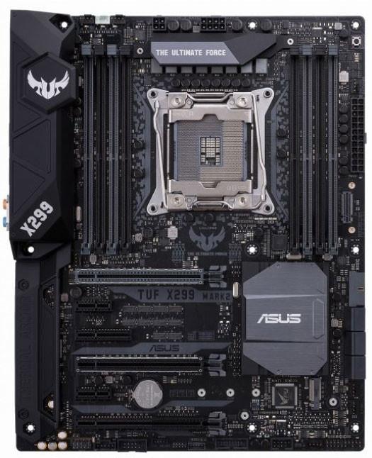 Системная плата Asus TUF X299 Mark 2 типоразмера ATX оснащена шестью слотами PCIe