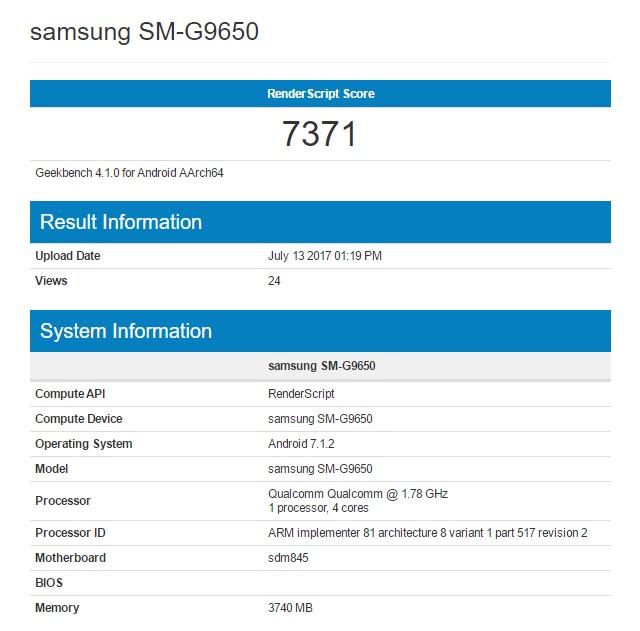 Смартфон Samsung Galaxy S9 с SoC Snapdragon 845 уже протестирован в Geekbench