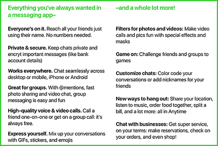 amazon-anytime-chat-app-feature-list