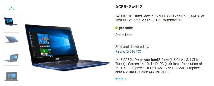 Когда начнутся поставки ноутбука Acer Swift 3 на процессоре Intel Core i5-8250U — пока неизвестно