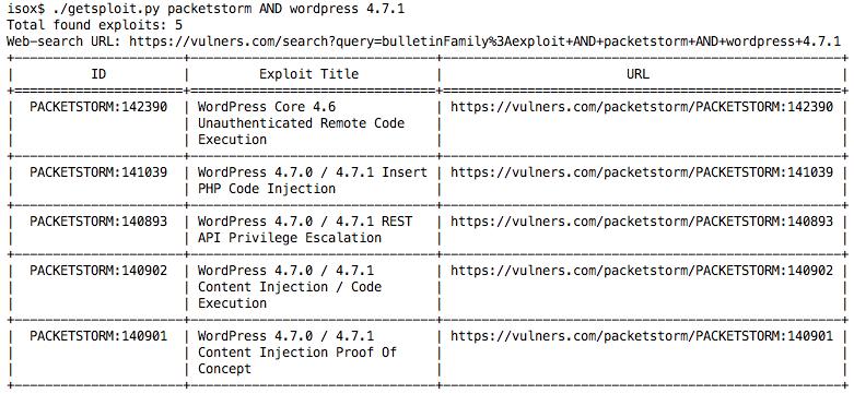 Getsploit: поиск и загрузка эксплойтов по агрегированной базе данных - 2