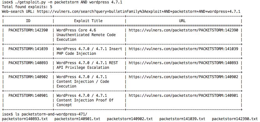 Getsploit: поиск и загрузка эксплойтов по агрегированной базе данных - 3